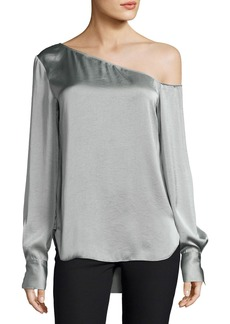 Theory Ulrika One-Shoulder Satin Blouse
