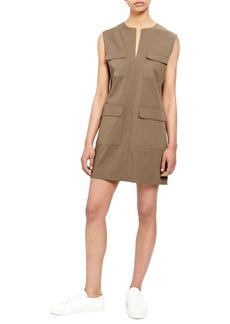 Theory Utilitarian Sleeveless Stretch Cotton Dress