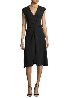 Theory V-Neck Cap-Sleeve Crepe Midi Dress