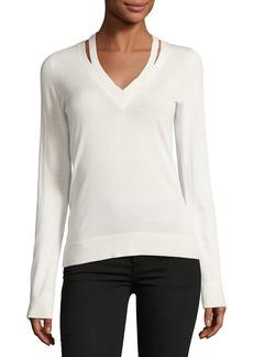 Theory V-Neck Long-Sleeve Wool Sweater