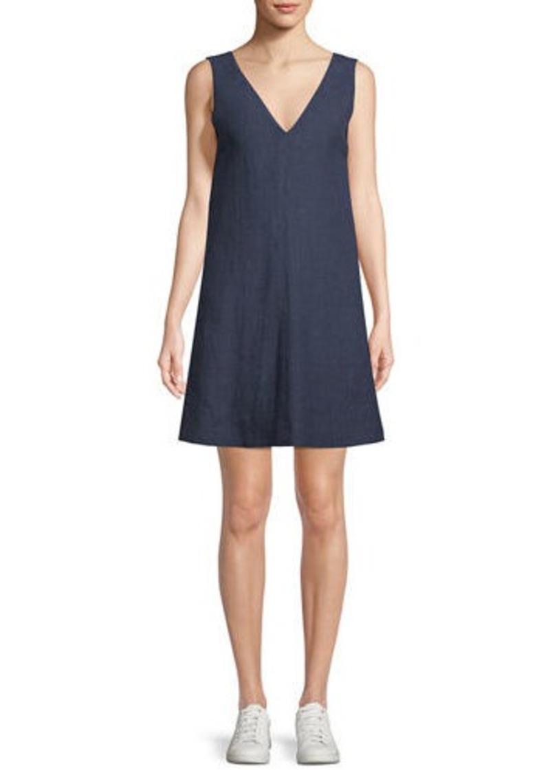 9ed5b40077 Theory V-Neck Sleeveless A-Line Integrate Linen Dress
