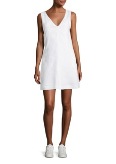 Theory V-Neck Sleeveless A-Line Integrate Linen Dress