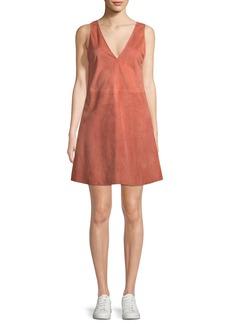 Theory V-Neck Sleeveless Leather Shift Dress