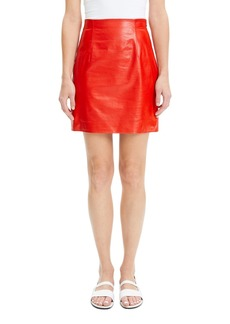 Theory Varnished Lambskin Leather Mini Skirt