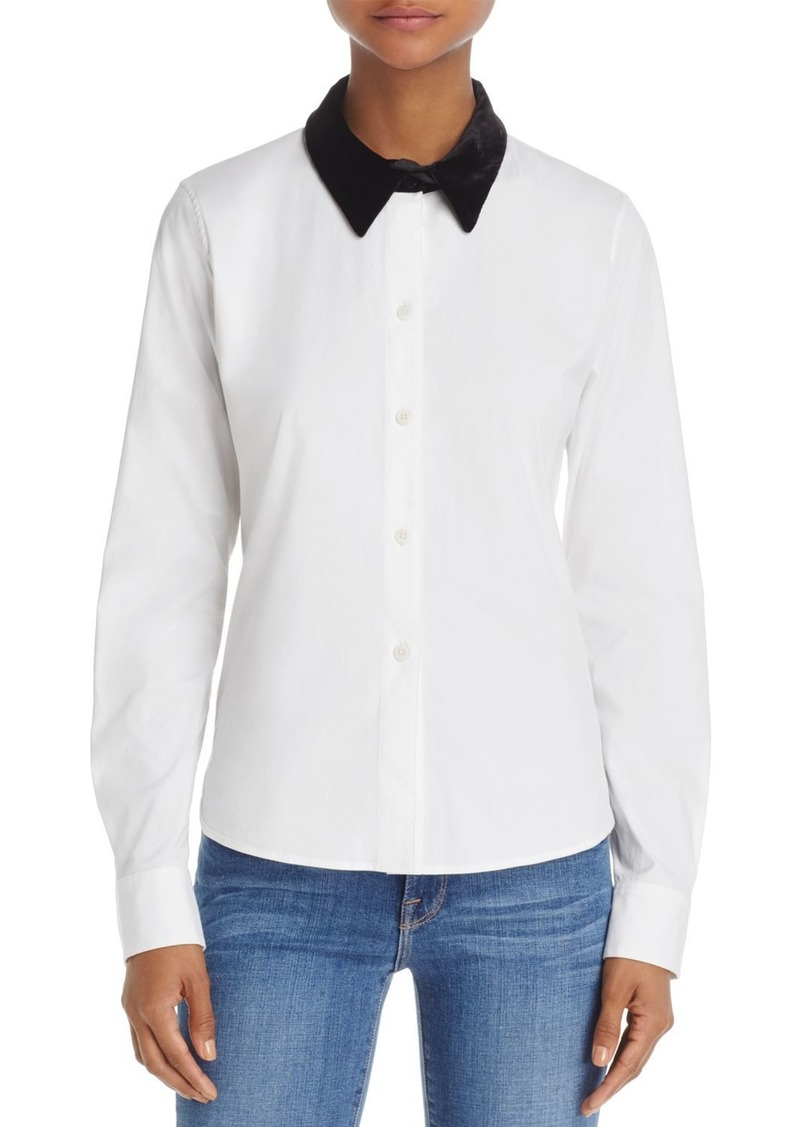 Theory Velvet-Collar Shirt
