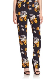 Theory Viewpine Silk Floral-Print Pants