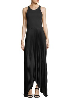Theory Vinessi Mixed Rib-Knit Pleated Skirt Maxi Dress
