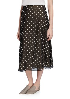 Theory Volume Polka-Dot Midi Silk Skirt