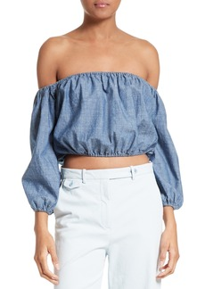 Theory Waleska Chambray Crop Top