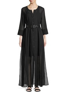 Theory Weekend Button-Down Summer Cotton Maxi Dress
