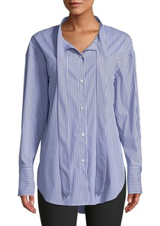 Theory Weekender Tie-Neck Button-Down Long-Sleeve Franklin Stripe Shirt