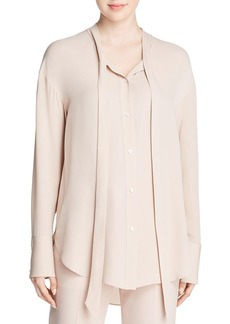 Theory Weekender Tie-Neck Silk Shirt