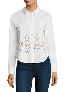 Theory Weylend Embroidered Cotton Poplin Blouse