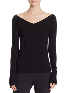 Theory Wide V-Neck Ribbed Top