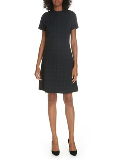 Theory Windowpane Knit A-Line Dress