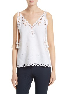 Theory Wiola Embroidered Eyelet Tank