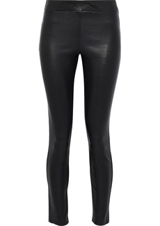 Theory Woman Adbelle Cropped Stretch-leather Leggings Black