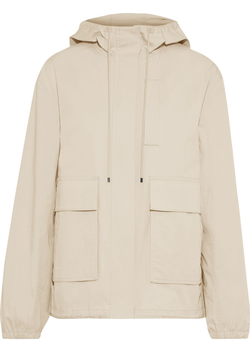 Theory Woman Anorak Cotton-blend Canvas Hooded Jacket Beige