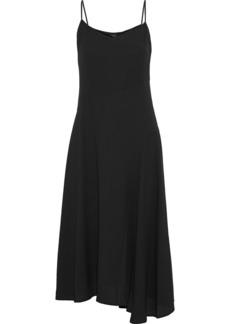 Theory Woman Asymmetric Crepe Midi Slip Dress Black