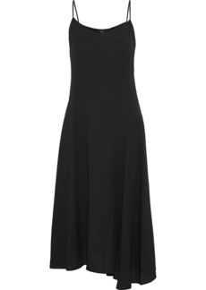 Theory Woman Asymmetric Crepe Midi Slip Dress Black