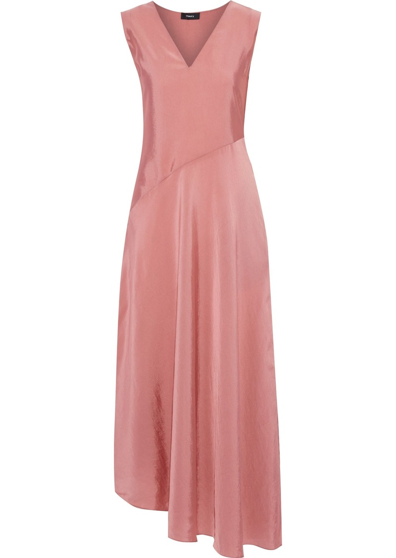 Theory Woman Asymmetric Crinkled Satin-twill Maxi Dress Antique Rose
