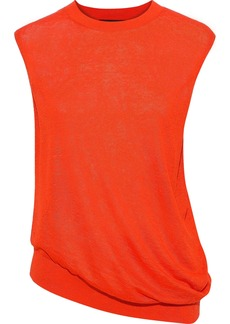 Theory Woman Asymmetric Linen-blend Top Papaya