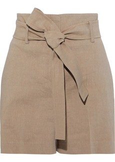 Theory Woman Belted Linen-blend Shorts Mushroom