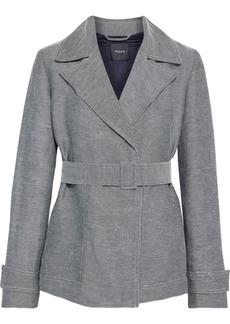Theory Woman Belted Linen-blend Twill Blazer Black