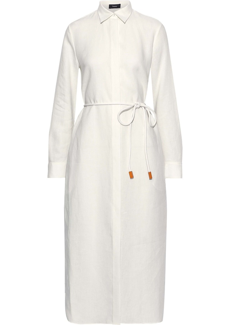 Theory Woman Mélange Linen Shirt Dress White
