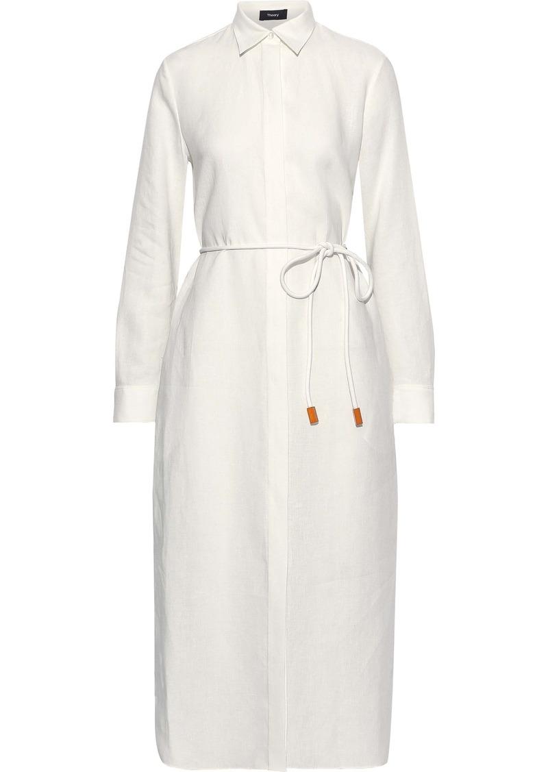 Theory Woman Mélange Linen Shirt Dress White