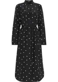 Theory Woman Belted Printed Silk-jacquard Midi Shirt Dress Black