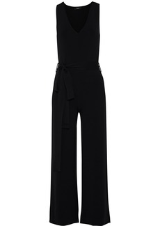 Theory Woman Belted Stretch-knit Wide-leg Jumpsuit Black