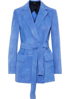 Theory Woman Belted Suede Blazer Azure