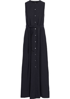 Theory Woman Belted Washed-twill Maxi Dress Midnight Blue