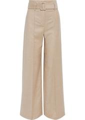 Theory Woman Belted Wool-flannel Wide-leg Pants Beige