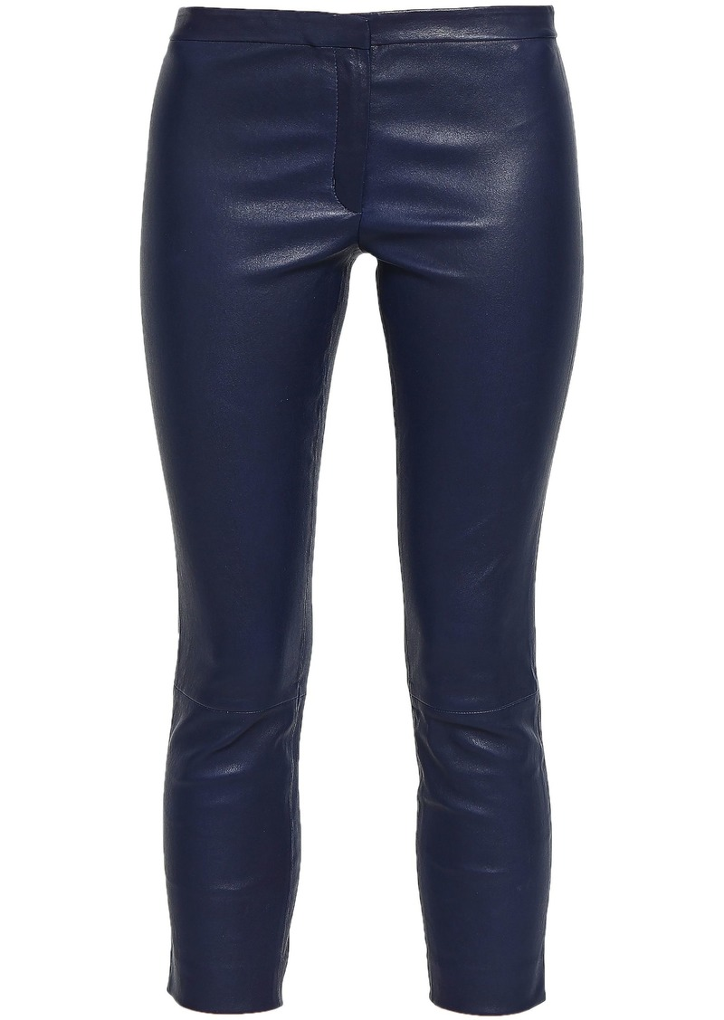 Theory Woman Bristol Cropped Leather Skinny Pants Navy