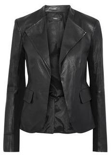 0dd5f4eadccd Theory Woman Bristol Jersey-paneled Peplum Leather Jacket Black