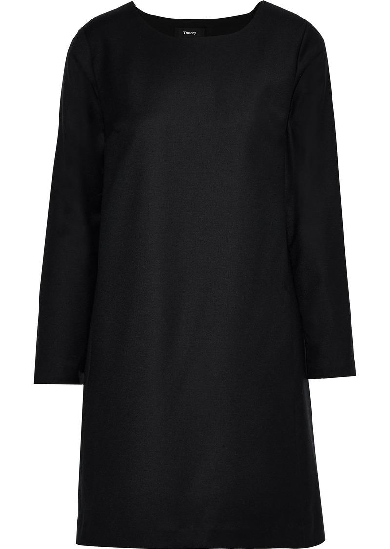 Theory Woman Brushed-wool Mini Dress Black