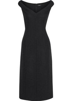 Theory Woman Brushed Wool-twill Midi Dress Charcoal