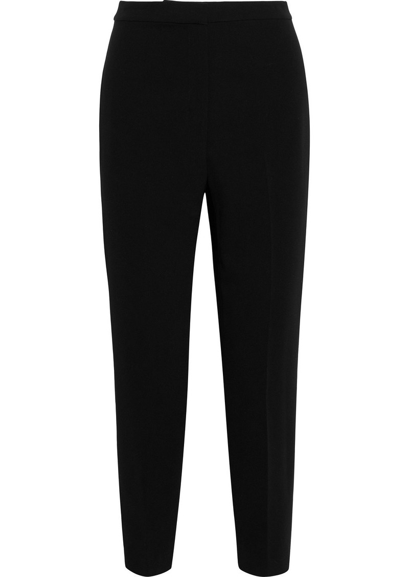 Theory Woman Carrot Cropped Crepe Tapered Pants Black