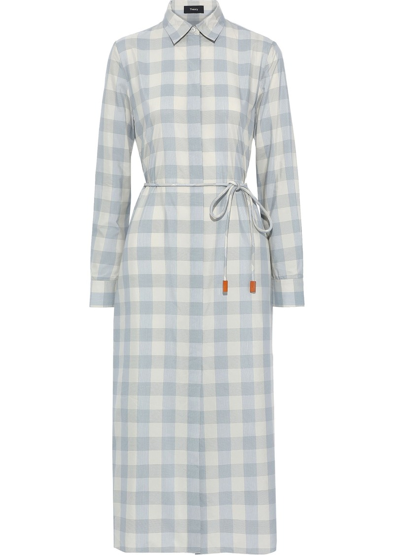 Theory Woman Checked Cotton And Silk-blend Midi Shirt Dress Light Blue
