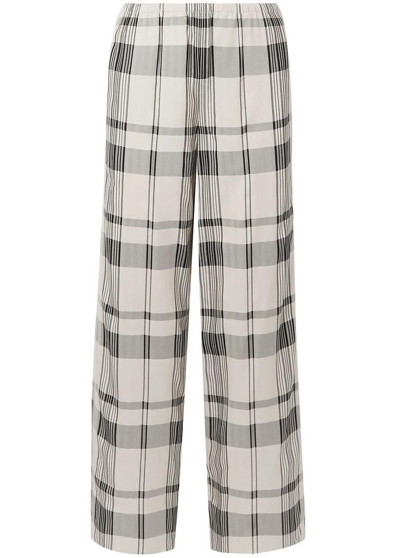 Theory Woman Checked Jacquard Wide-leg Pants Off-white