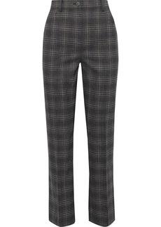 Theory Woman Checked Wool-blend Straight-leg Pants Charcoal