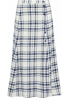 Theory Woman Checked Woven Midi Skirt Navy