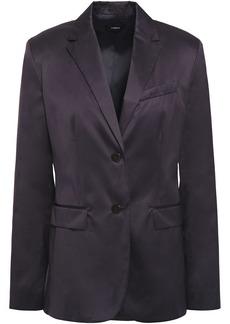 Theory Woman Classic Cotton-sateen Blazer Dark Purple