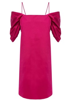 Theory Woman Cold-shoulder Gathered Stretch-cotton Twill Mini Dress Fuchsia