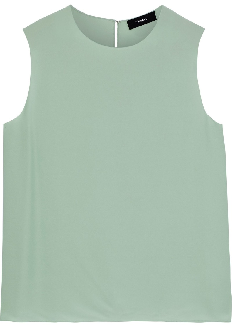 Theory Woman Silk Top Light Green