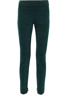 Theory Woman Cotton-blend Corduroy Leggings Forest Green