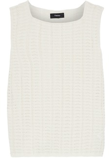 Theory Woman Cotton-blend Crochet-knit Top Ivory