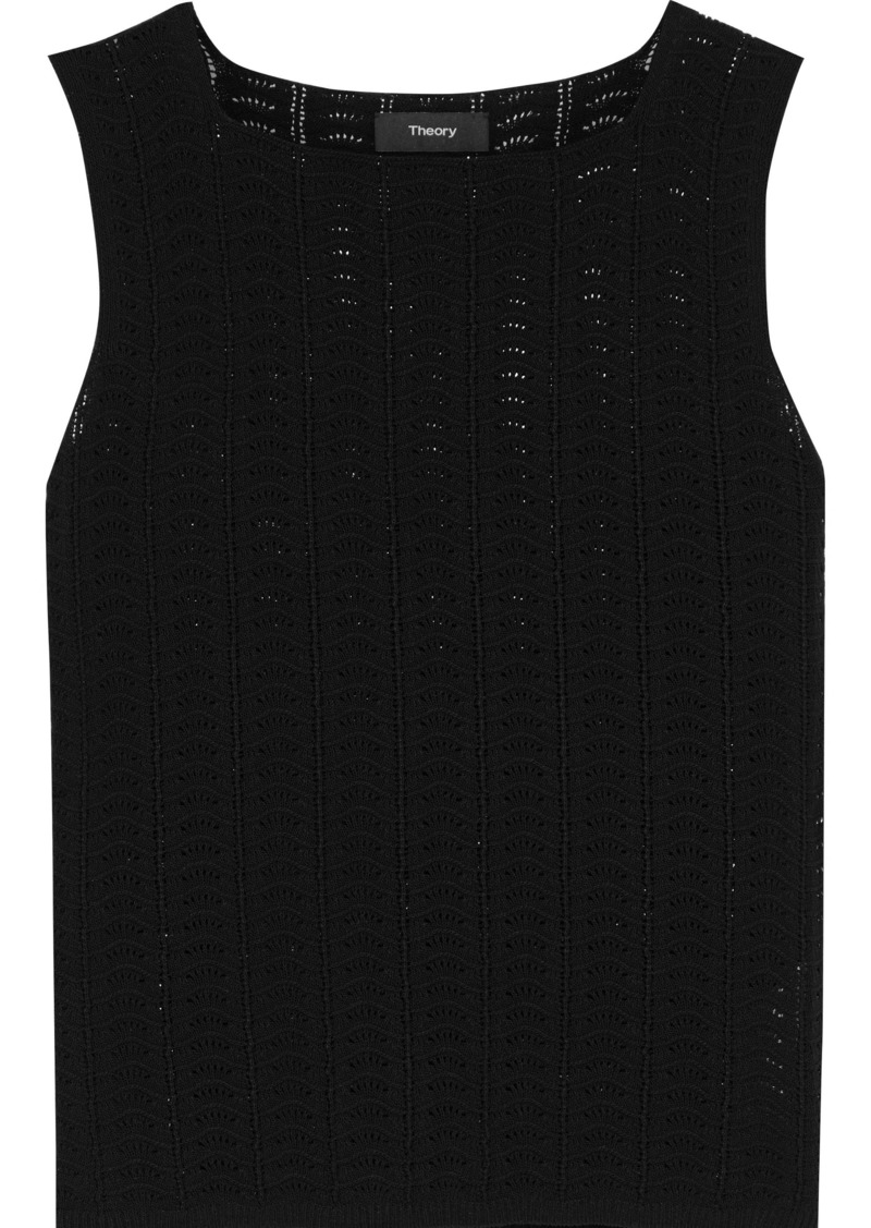 Theory Woman Cotton-blend Crochet-knit Top Black